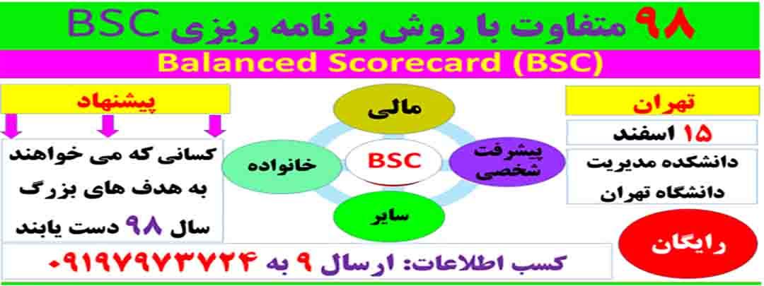 ۹۸ متفاوت در زندگی و کسب و کار با روش برنامه ریزی  Balanced Scorecard